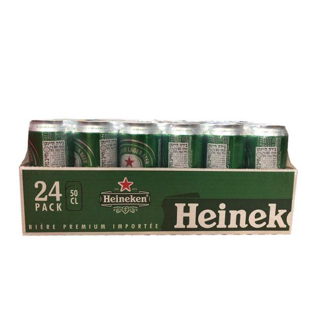 """ארגז בירה פחית הייניקן 500 מ""""ל 24 יח'"""