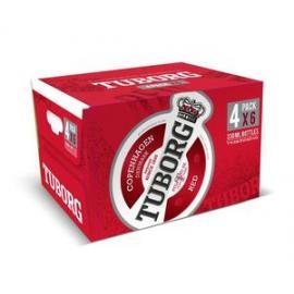 """ארגז בירה טובורג אדום 330 מ""""ל 24 יח'"""