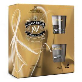 מארז וויסקי עם כוסות: שיבס ריגל 15 שנה 700 מ״ל (XV) + 2 כוסות
