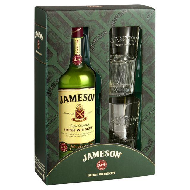 מארז ג'יימסון 700 מ״ל + 2 כוסות מהודרות