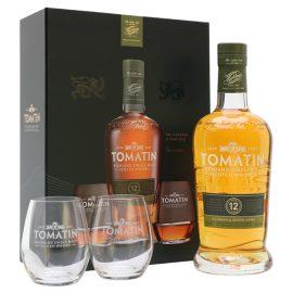 """מארז וויסקי עם כוסות: טומאטין 12 שנים 700 מ""""ל מארז + 2 כוסות"""